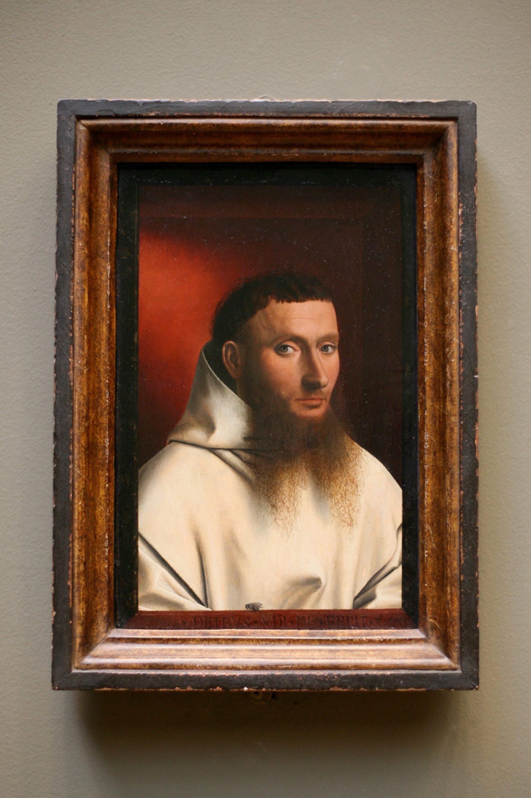 Petrus Christus, Portrait of a Carthusian, 1446, oil on oak, Metropolitan Museum of Art, New York.