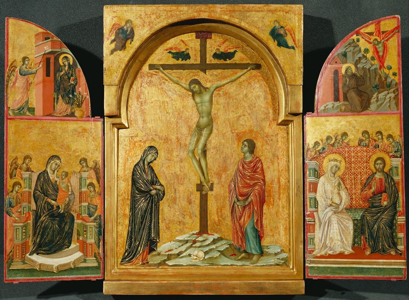 Duccio di Buoninsegna, Crucifixion Triptych, c. 1302-08, tempera and gold on panel, Hampton Court Palace, London.