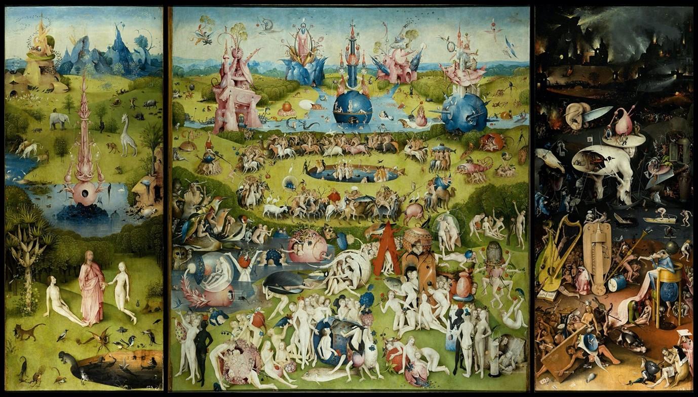 Hieronymus Bosch, The Garden of Earthly Delights, c. 1503-1515, oil on panel, Museo Nacional del Prado, Madrid.