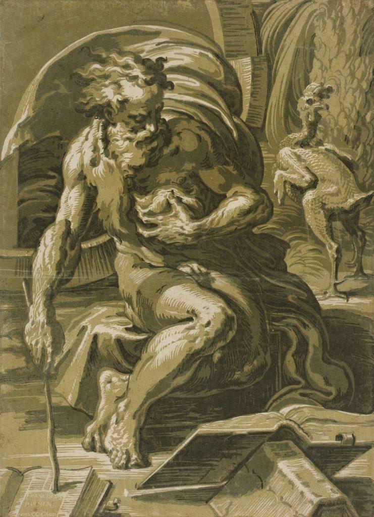 Ugo da Carpi, Diogenes seated before his barrel, c. 1527-30, woodcut, The Metropolitan Museum of Art, New York.