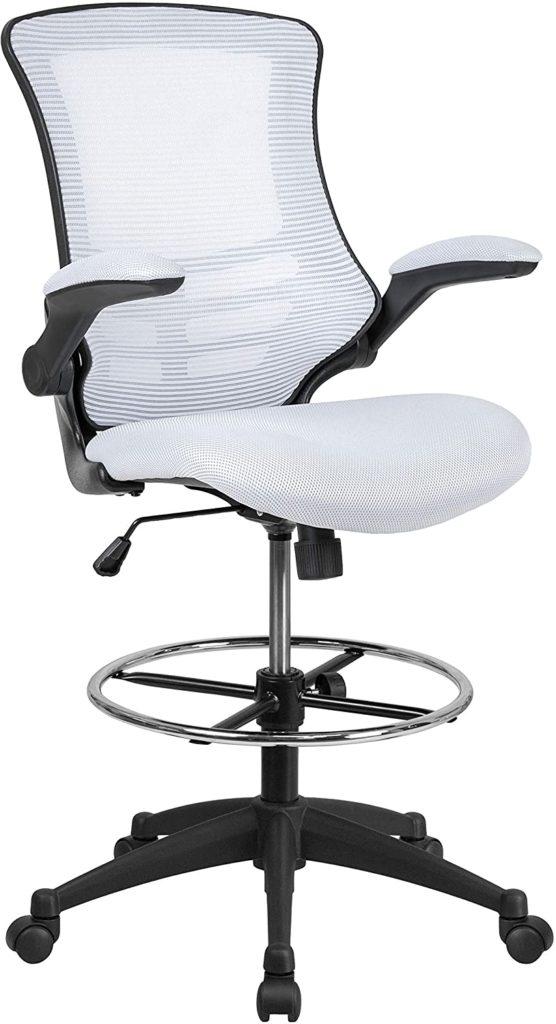 Flash Furniture Mid-Back White Ergonomic Drafting Chair